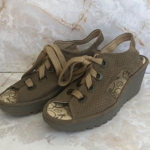 Fly London Ylva taupe perforated wedge sandals 9